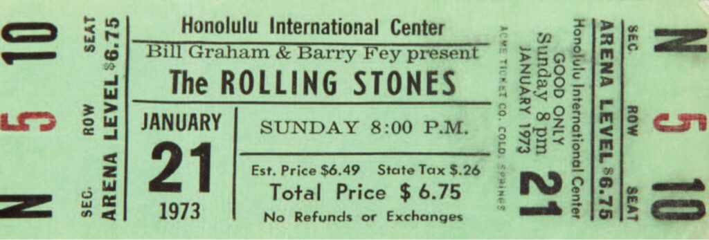 Rolling Stones Pacific Tour Ticket